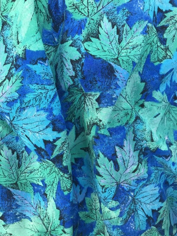 green blue print pebble crepe