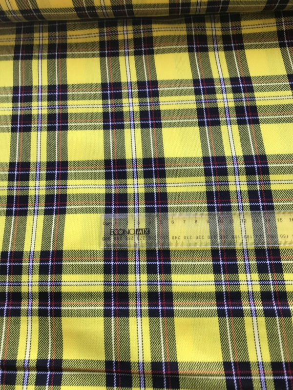 yellow black tartan fabric