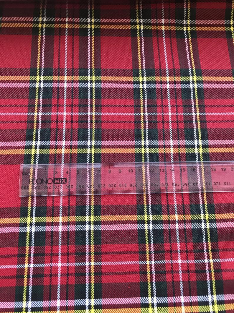 red black tartan fabric