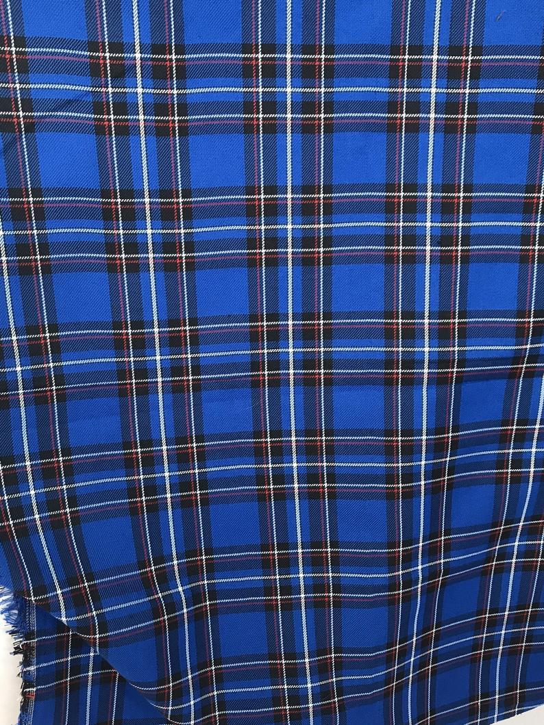 cobalt blue tartan fabric