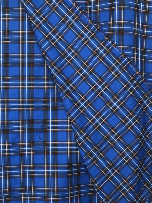 royal blue check fabric