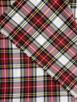 red white tartan fabric