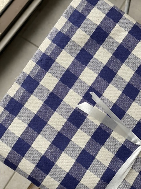 blue on white check tablecloth fabric