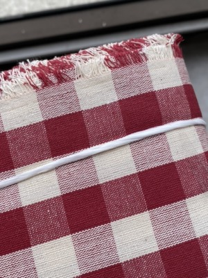 red on white check tablecloth fabric