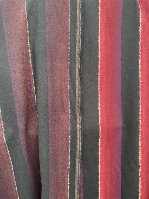 red on black stripe fabric