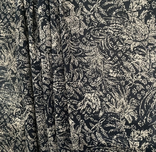 black white wool crepe fabric