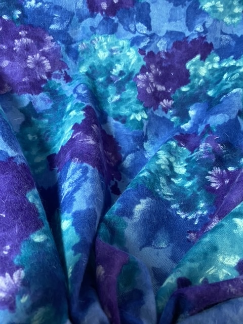 purple blue floral wool fabric