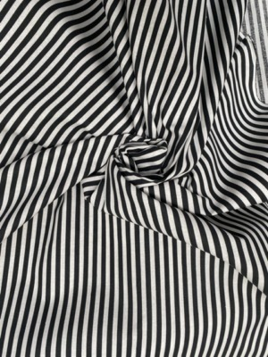 Black and white stripe cotton fabric