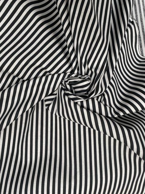 Black and white stripe cotton fabric