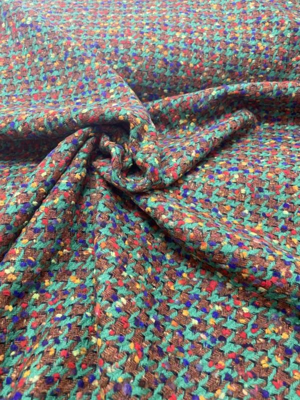 brown green boucle wool