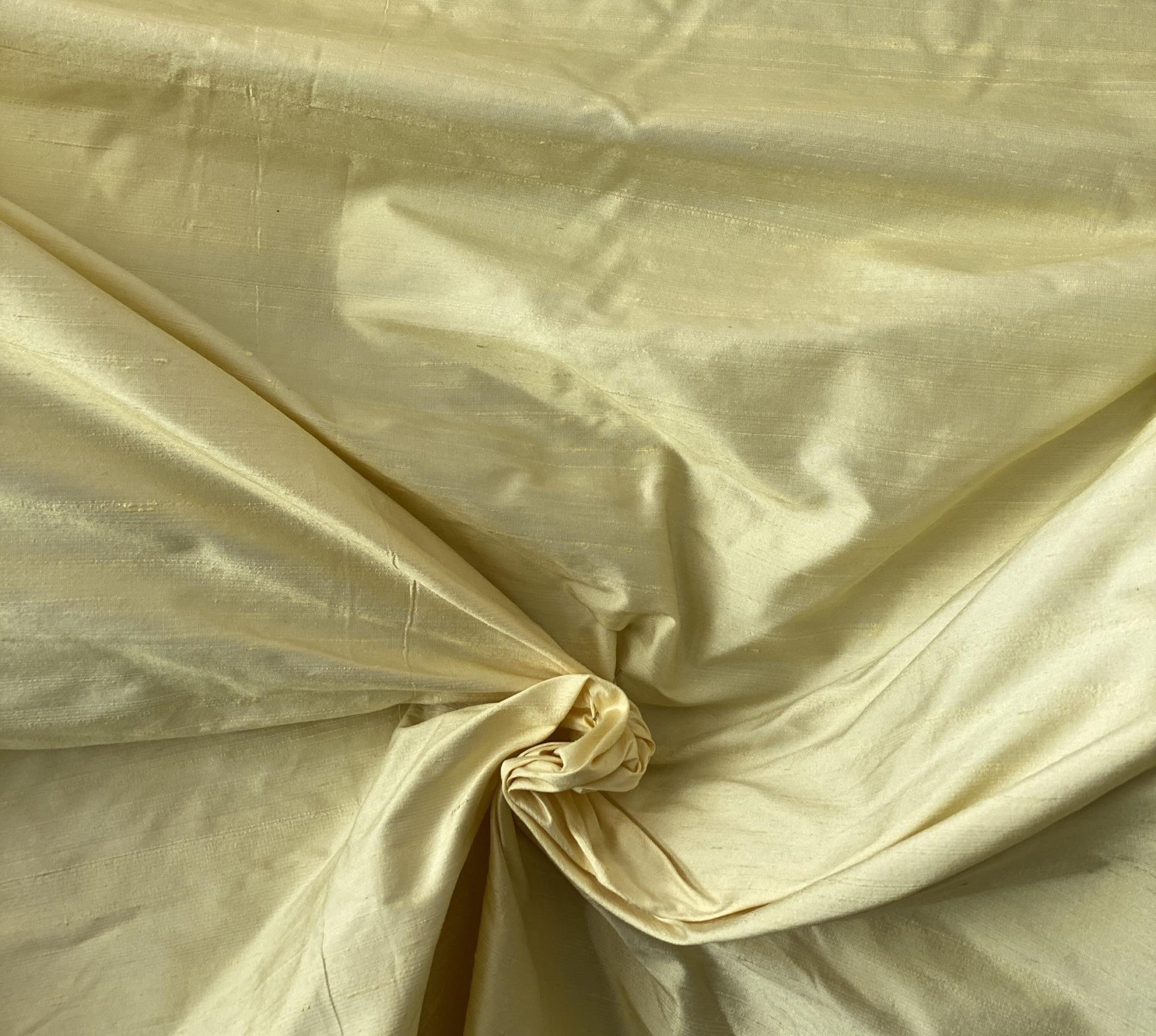 yellow Dupion silk fabric