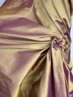 iridescent gold Dupion silk fabric