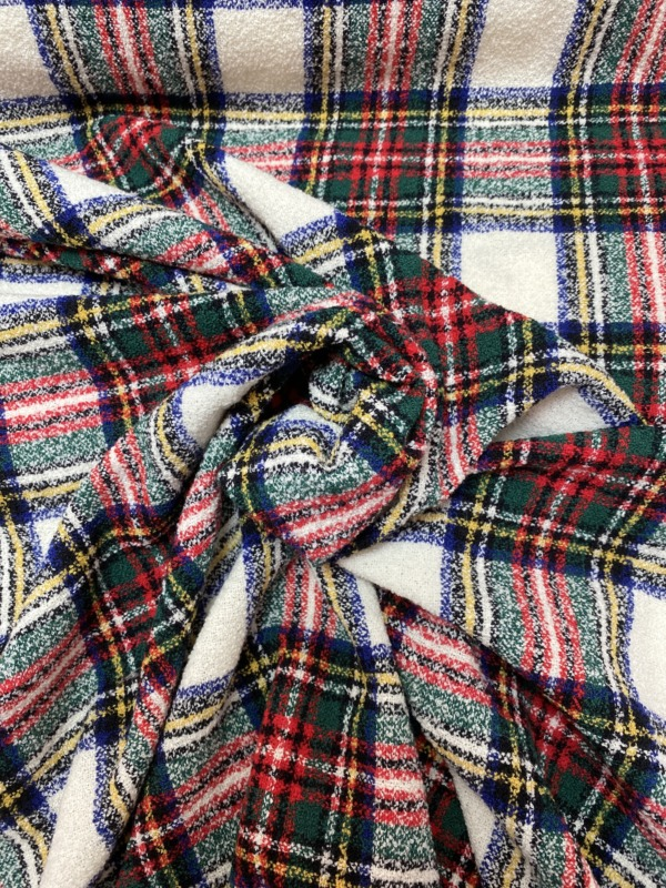 red on white wool tartan plaid