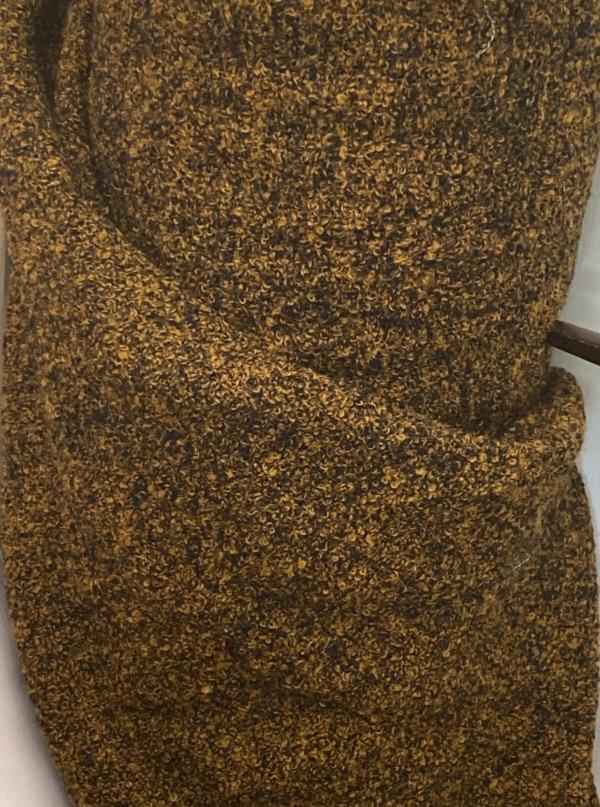 orange black tweed fabric