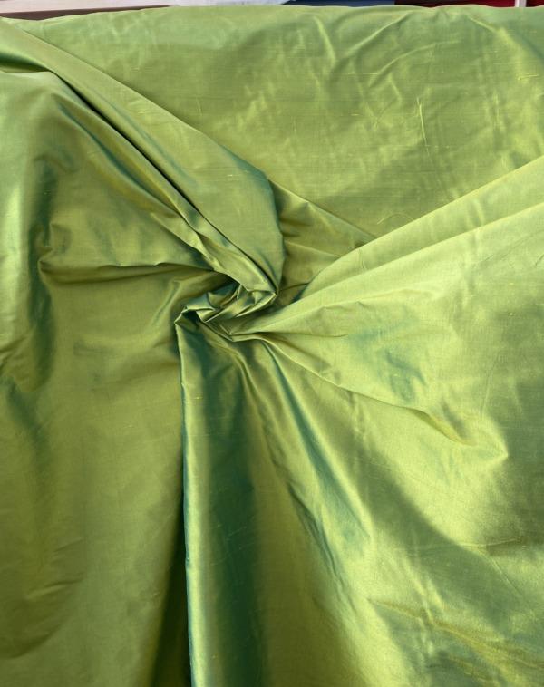 green iridescent dupion silk fabric